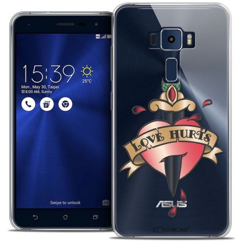 "Coque Crystal Gel Asus Zenfone 3 ZE552KL (5.5"") Extra Fine Tatoo Lover - Love Hurts"
