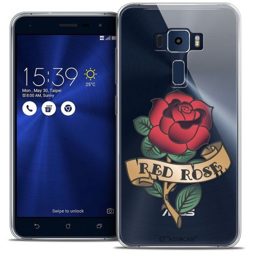 "Coque Crystal Gel Asus Zenfone 3 ZE552KL (5.5"") Extra Fine Tatoo Lover - Red Rose"