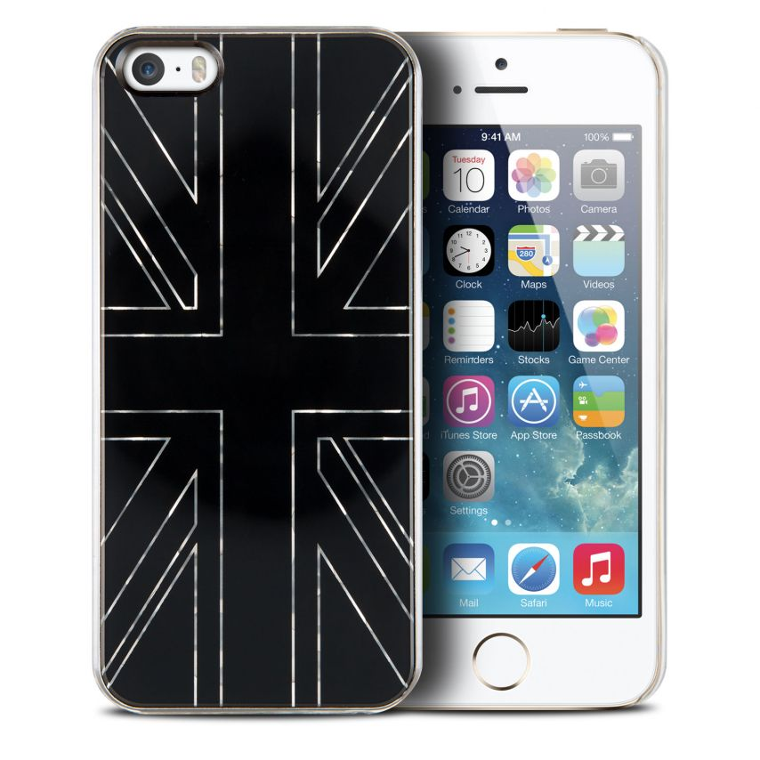 Vue Principale de Coque QDOS® Smoothies Metallics UK Noir pour iPhone 5/5S
