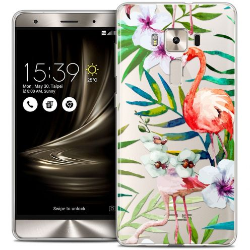 "Coque Crystal Gel Asus Zenfone 3 Deluxe ZS570KL (5.7"") Extra Fine Watercolor - Tropical Flamingo"