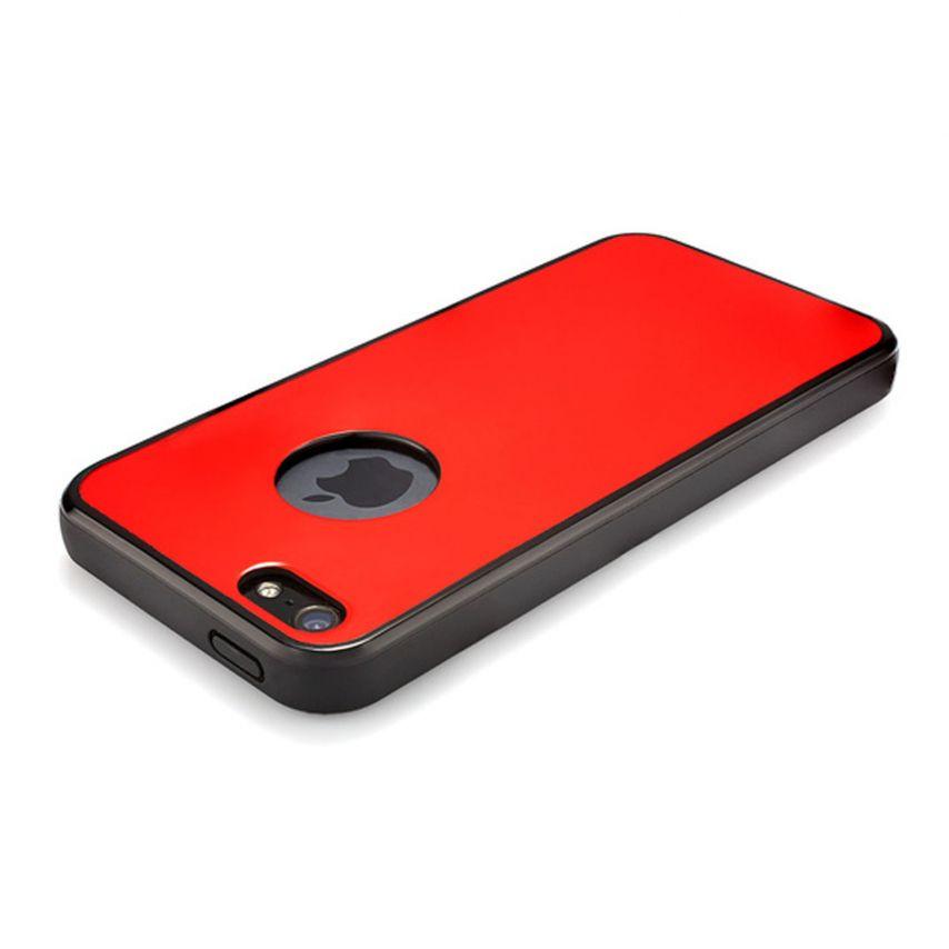 Vue complémentaire de Coque QDOS® Custom Buttons Rouge iPhone 5/5S
