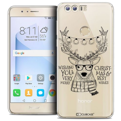 """Coque Crystal Gel Huawei Honor 8 (5.2"""") Extra Fine Noël 2017 - Cerf Hipster"""