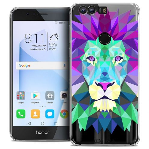 "Coque Crystal Gel Huawei Honor 8 (5.2"") Extra Fine Polygon Animals - Lion"