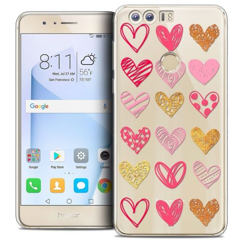 "Coque Crystal Gel Huawei Honor 8 (5.2"") Extra Fine Sweetie - Doodling Hearts"