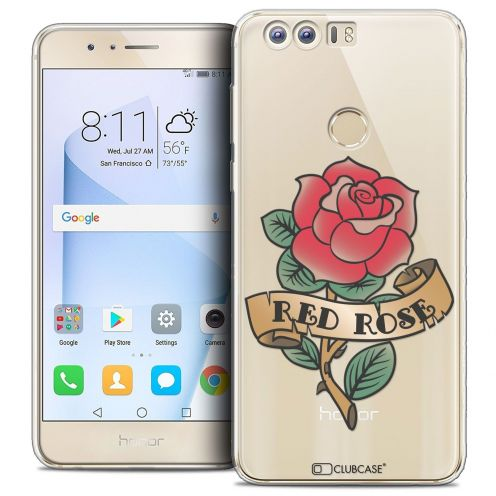 """Coque Crystal Gel Huawei Honor 8 (5.2"""") Extra Fine Tatoo Lover - Red Rose"""