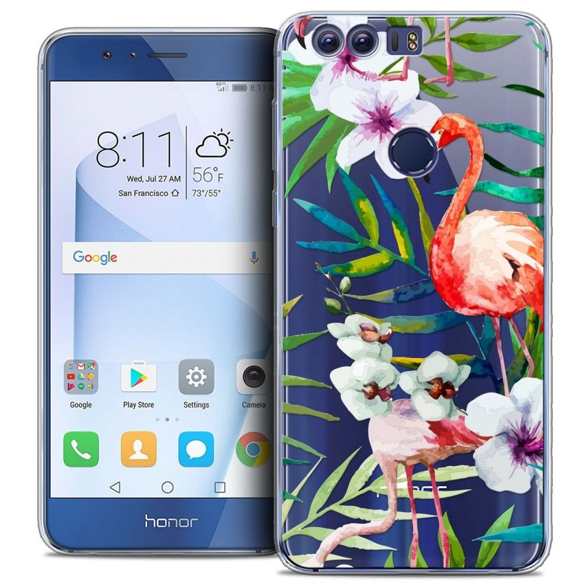 "Coque Crystal Gel Huawei Honor 8 (5.2"") Extra Fine Watercolor - Tropical Flamingo"