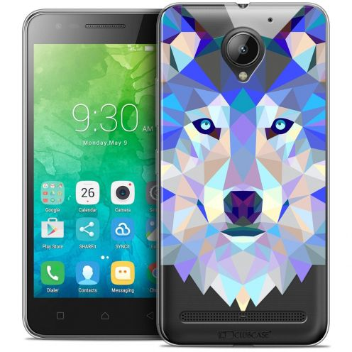 "Coque Crystal Gel Lenovo C2 K10A40 (5"") Extra Fine Polygon Animals - Loup"