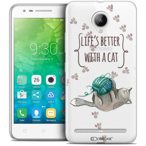 "Coque Crystal Gel Lenovo C2 K10A40 (5"") Extra Fine Quote - Life's Better With a Cat"