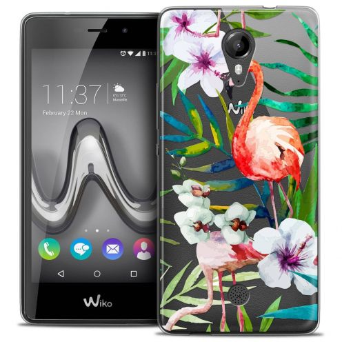"Coque Crystal Gel Wiko Tommy (5"") Extra Fine Watercolor - Tropical Flamingo"