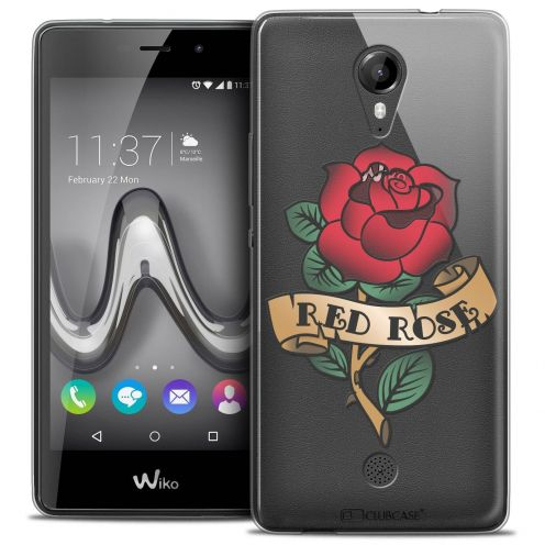 """Coque Crystal Gel Wiko Tommy (5"""") Extra Fine Tatoo Lover - Red Rose"""