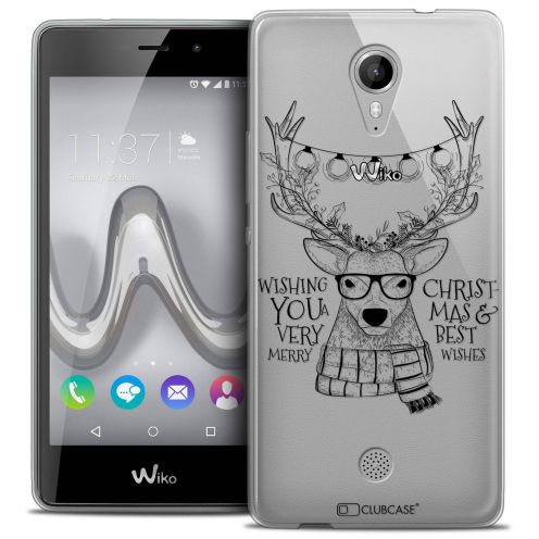 "Coque Crystal Gel Wiko Tommy (5"") Extra Fine Noël 2017 - Cerf Hipster"