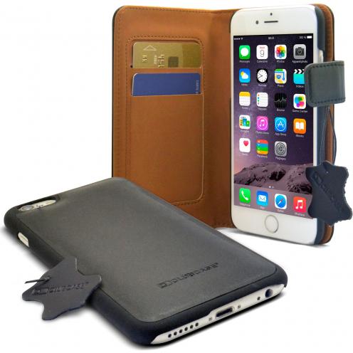 Housse Portefeuille Folio cuir véritable pour iPhone 6 Plus noir