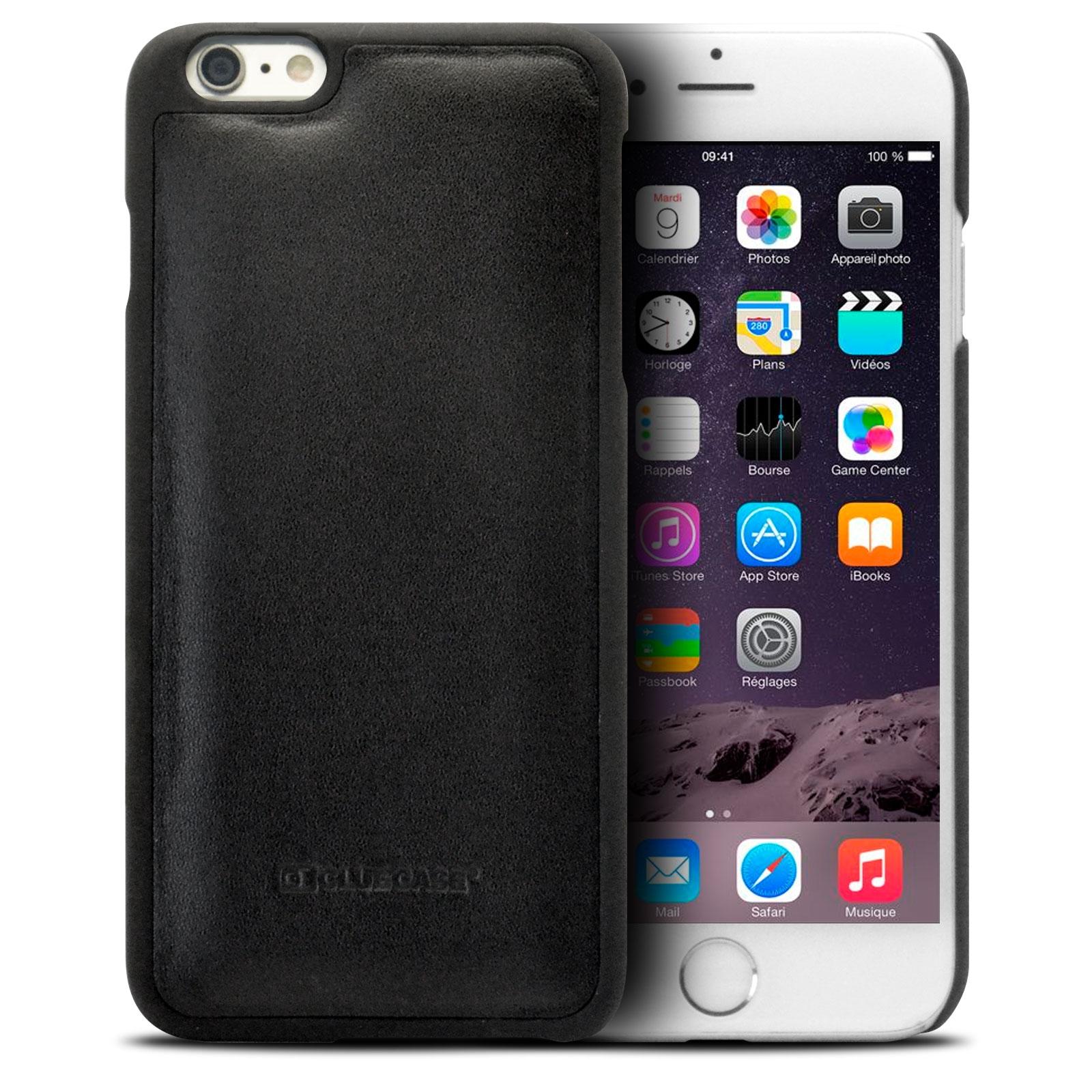 housse portefeuille folio cuir v ritable pour iphone 6 plus noir. Black Bedroom Furniture Sets. Home Design Ideas