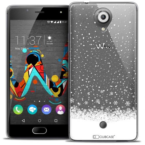 "Coque Crystal Gel Wiko U Feel (5"") Extra Fine Noël 2017 - Flocons de Neige"