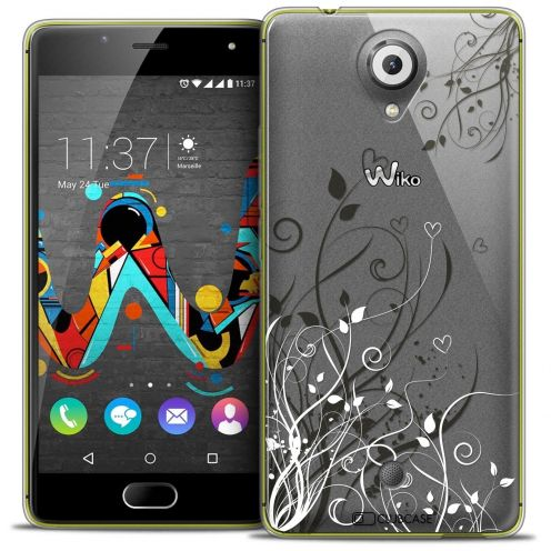 "Coque Crystal Gel Wiko U Feel (5"") Extra Fine Love - Hearts Flowers"