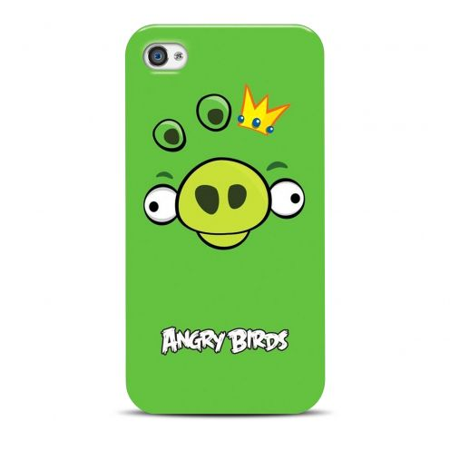 Vue Principale de Coque Angry Birds Gear4® Pig King Vert iPhone 4