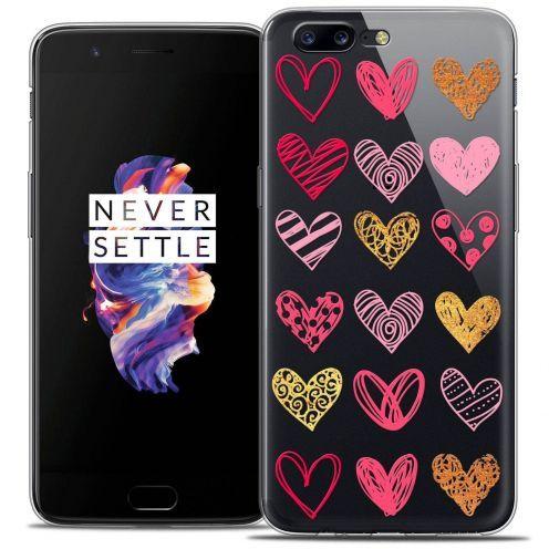 "Coque Crystal Gel OnePlus 5 (5.5"") Extra Fine Sweetie - Doodling Hearts"