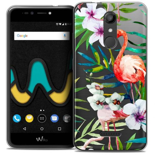"Coque Crystal Gel Wiko U Pulse (5.5"") Extra Fine Watercolor - Tropical Flamingo"