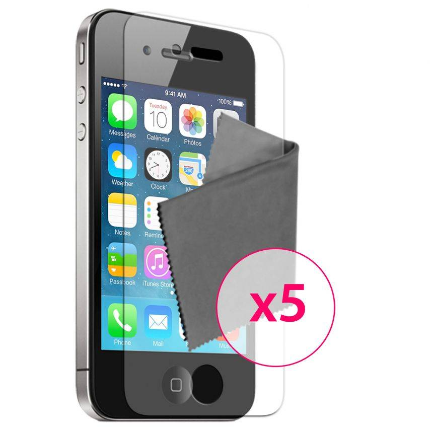 Vue Principale de 5 Films de protection HQ pour iPhone 4 / 4S