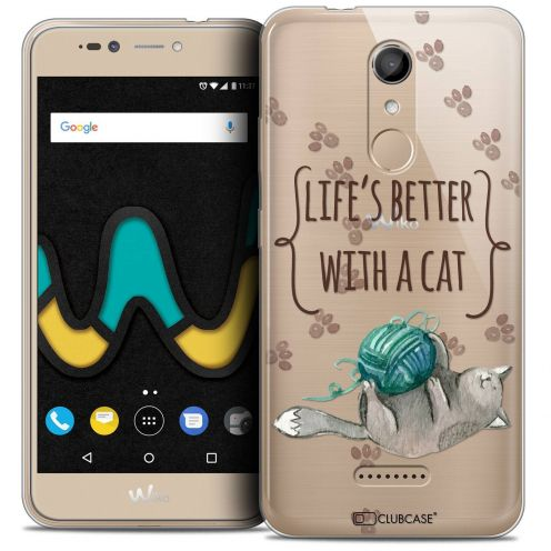 "Coque Crystal Gel Wiko U Pulse (5.5"") Extra Fine Quote - Life's Better With a Cat"