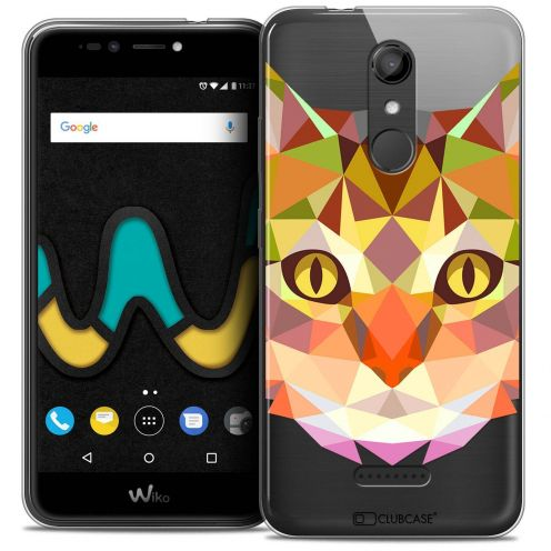 "Coque Crystal Gel Wiko U Pulse (5.5"") Extra Fine Polygon Animals - Chat"