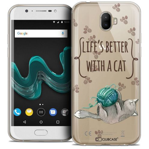 """Coque Crystal Gel Wiko Wim (5.5"""") Extra Fine Quote - Life's Better With a Cat"""