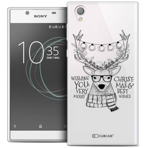 """Coque Crystal Gel Sony Xperia L1 (5.5"""") Extra Fine Noël 2017 - Cerf Hipster"""