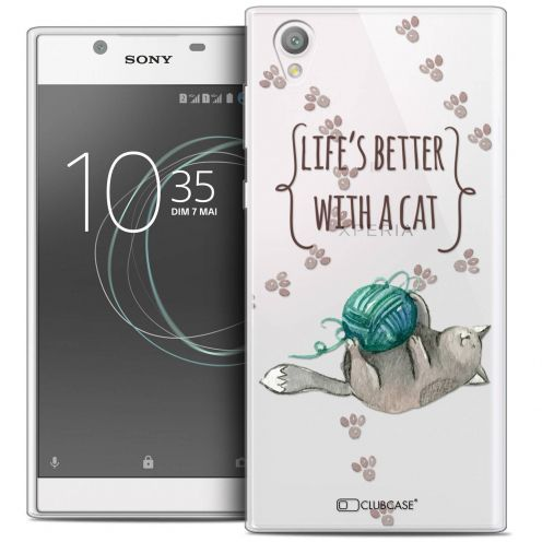"""Coque Crystal Gel Sony Xperia L1 (5.5"""") Extra Fine Quote - Life's Better With a Cat"""