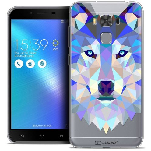 "Coque Crystal Gel Asus Zenfone 3 Max Plus ZC553KL (5.5"") Extra Fine Polygon Animals - Loup"