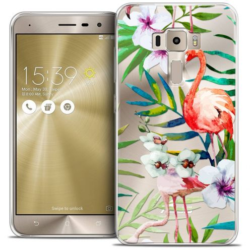 "Coque Crystal Gel Asus Zenfone 3 ZE520KL (5.2"") Extra Fine Watercolor - Tropical Flamingo"
