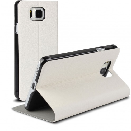 Vue Principale de Etui Galaxy Alpha Slim Folio Smart Magnet Blanc