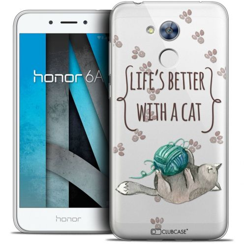 """Coque Crystal Gel Huawei Honor 6A (5"""") Extra Fine Quote - Life's Better With a Cat"""