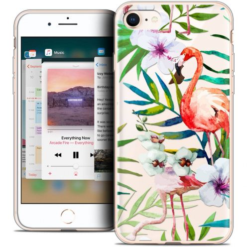 "Coque Crystal Gel Apple iPhone 8 (4.7"") Extra Fine Pattern - Les flamants Roses"
