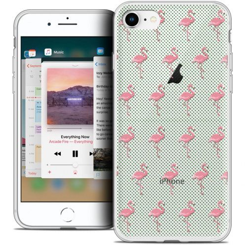 "Coque Crystal Gel Apple iPhone 8 (4.7"") Extra Fine Pattern - Les flamants Roses Dots"