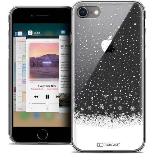 "Coque Crystal Gel Apple iPhone 8 (4.7"") Extra Fine Noël 2017 - Flocons de Neige"