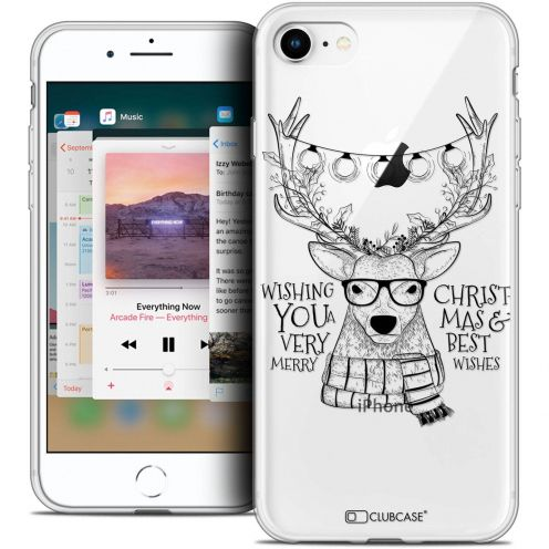 """Coque Crystal Gel Apple iPhone 8 (4.7"""") Extra Fine Noël 2017 - Cerf Hipster"""