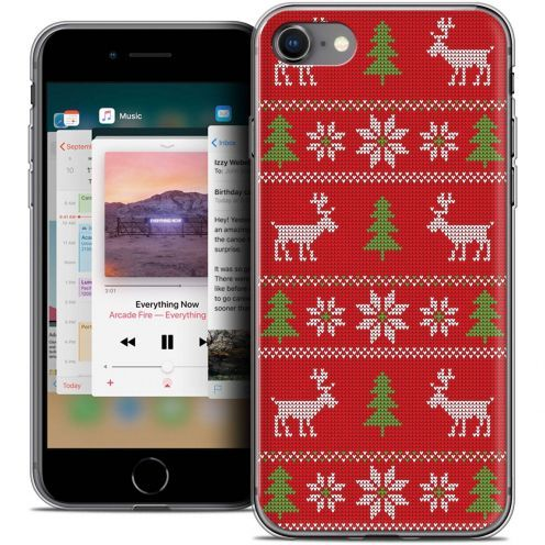"""Coque Crystal Gel Apple iPhone 8 (4.7"""") Extra Fine Noël 2017 - Couture Rouge"""