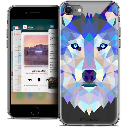 "Coque Crystal Gel Apple iPhone 8 (4.7"") Extra Fine Polygon Animals - Loup"