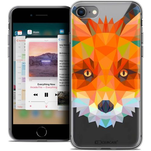 "Coque Crystal Gel Apple iPhone 8 (4.7"") Extra Fine Polygon Animals - Renard"