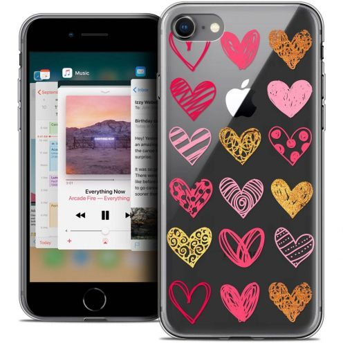 "Coque Crystal Gel Apple iPhone 8 (4.7"") Extra Fine Sweetie - Doodling Hearts"