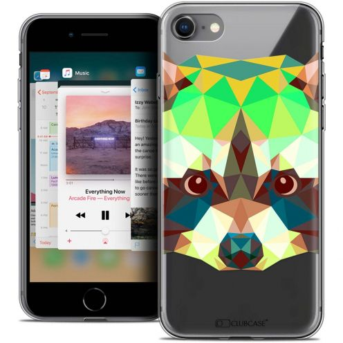 "Coque Crystal Gel Apple iPhone 8 (4.7"") Extra Fine Polygon Animals - Raton Laveur"