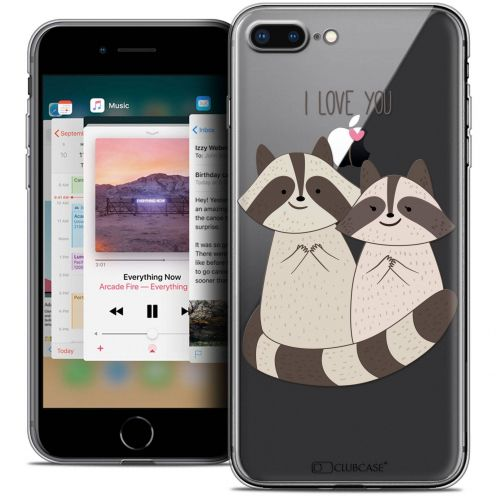 "Coque Crystal Gel Apple iPhone 8 Plus (5.5"") Extra Fine Sweetie - Racoon Love"