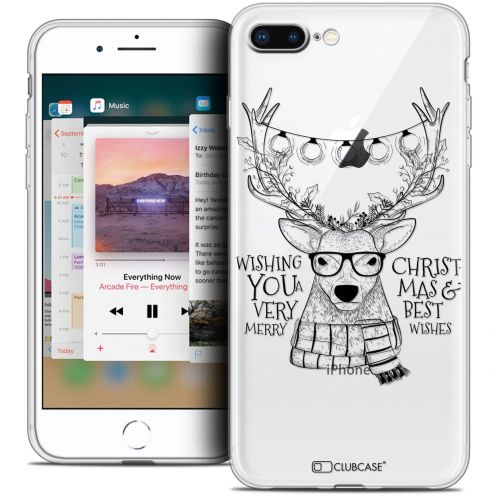 """Coque Crystal Gel Apple iPhone 8 Plus (5.5"""") Extra Fine Noël 2017 - Cerf Hipster"""
