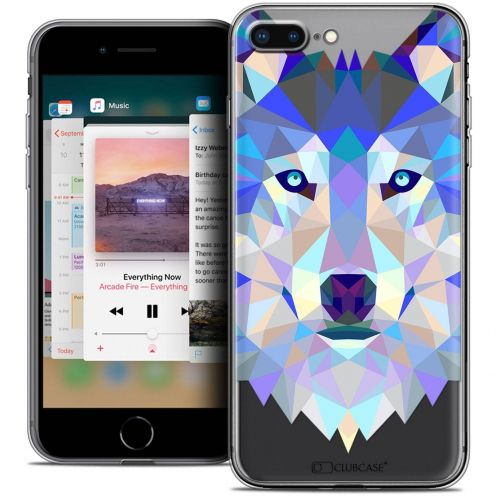"Coque Crystal Gel Apple iPhone 8 Plus (5.5"") Extra Fine Polygon Animals - Loup"