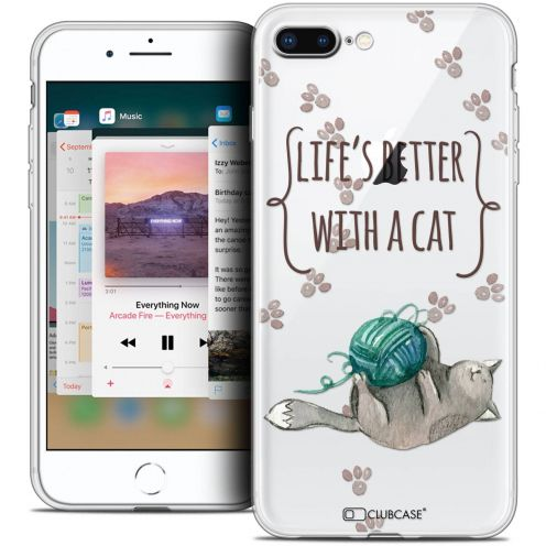 """Coque Crystal Gel Apple iPhone 8 Plus (5.5"""") Extra Fine Quote - Life's Better With a Cat"""