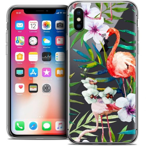"""Coque Crystal Gel Apple iPhone Xs / X (5.8"""") Extra Fine Watercolor - Tropical Flamingo"""