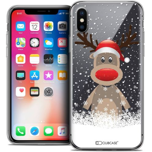 "Coque Crystal Gel Apple iPhone Xs / X (5.8"") Extra Fine Noël 2017 - Cerf au Bonnet"