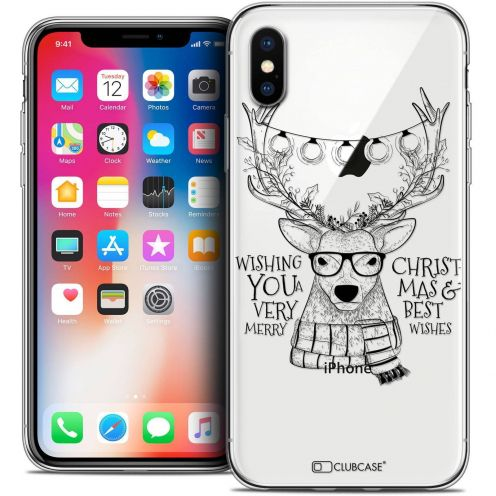 "Coque Crystal Gel Apple iPhone Xs / X (5.8"") Extra Fine Noël 2017 - Cerf Hipster"