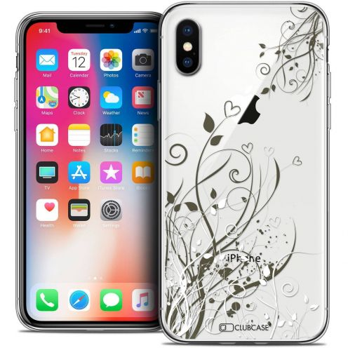"""Coque Crystal Gel Apple iPhone Xs / X (5.8"""") Extra Fine Love - Hearts Flowers"""