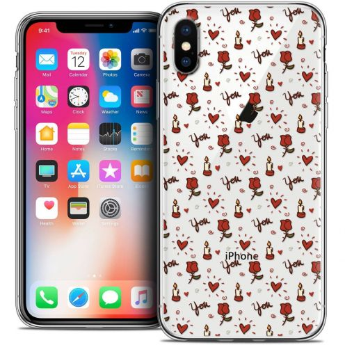 "Coque Crystal Gel Apple iPhone Xs / X (5.8"") Extra Fine Love - Bougies et Roses"
